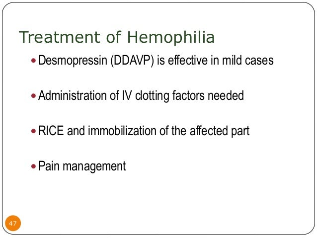 the three different levels of hemophilia In patients with mild to moderate hemophilia a, administering ddavp can raise  the fviii level 3 to 6 times the baseline level and can control.