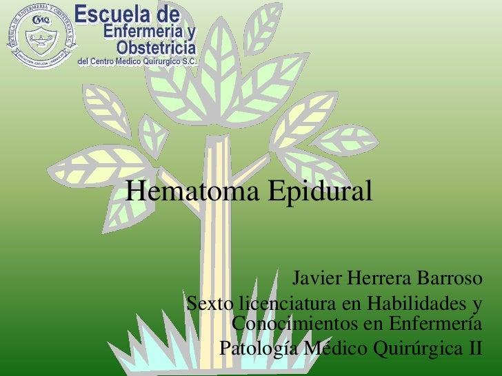 Hematoma Epidural<br />Javier Herrera Barroso<br />Sexto licenciatura en Habilidades y Conocimientos en Enfermería<br />Pa...