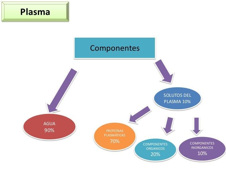 Plasma<br />Componentes<br />SOLUTOS DEL PLASMA 10%<br />AGUA<br />90%<br />PROTEÍNAS PLASMÁTICAS <br />70%<br />COMPONENT...