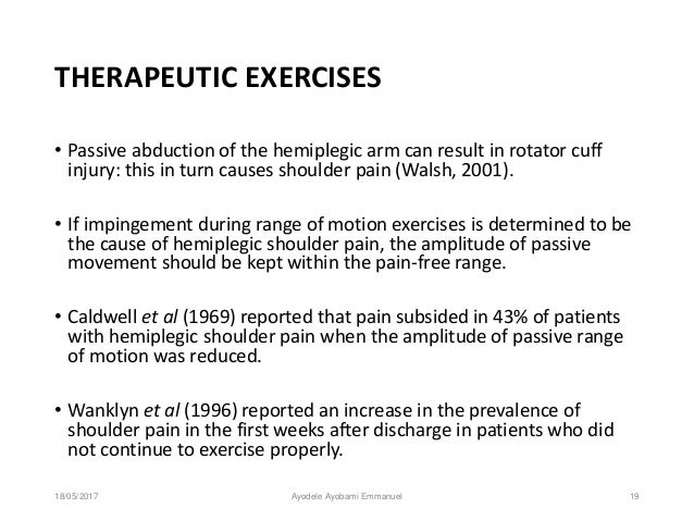 Prevention and management of hemiplegic shoulder pain among