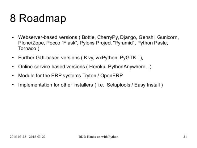 BBD Hands-on with Python  Practical Hands-on Workshop about