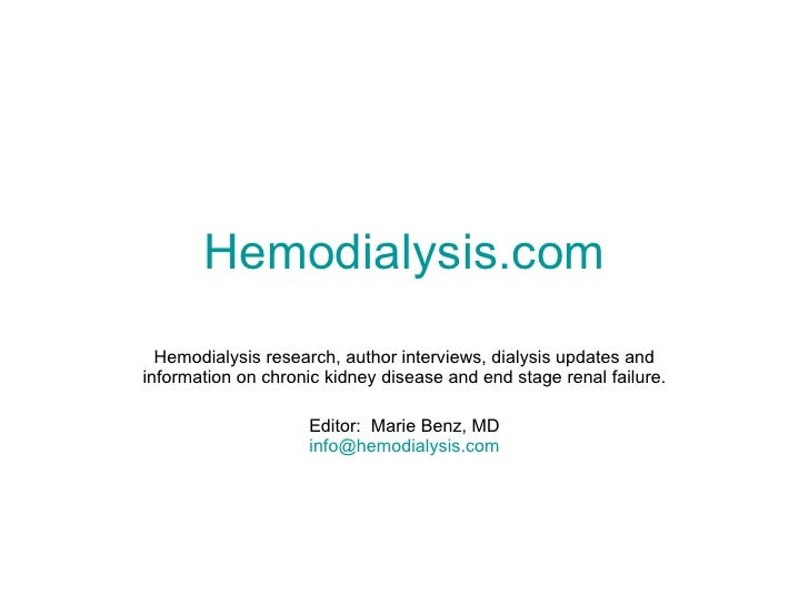 Hemodialysis.com Hemodialysis research, author interviews, dialysis updates and information on chronic kidney disease and ...