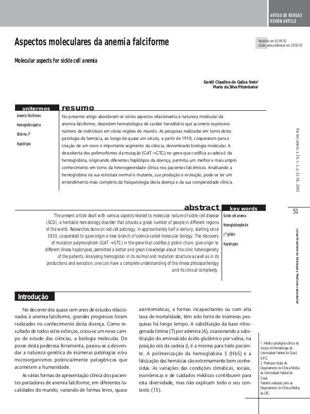 51 JornalBrasileirodePatologiaeMedicinaLaboratorial Aspectos moleculares da anemia falciforme Molecular aspects for sickle...