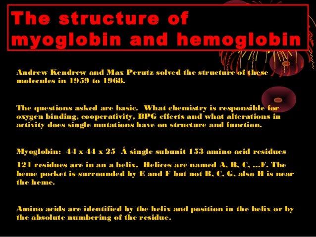 hemoglobin and myoglobin Myoglobin: hyperbolic curve tissue lung question: what if mb was a transport protein, not a storage protein hemoglobin & oxygen hemoglobin hemoglobin.