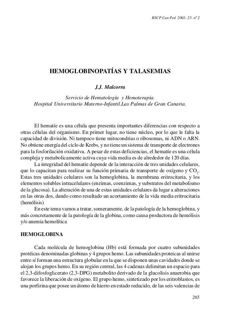 BSCP Can Ped 2001; 25- nº 2              HEMOGLOBINOPATÍAS Y TALASEMIAS                                    J.J. Malcorra  ...