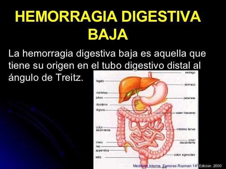 HEMORRAGIA DIGESTIVA BAJA La hemorragia digestiva baja es aquella que tiene su origen en el tubo digestivo distal al ángul...
