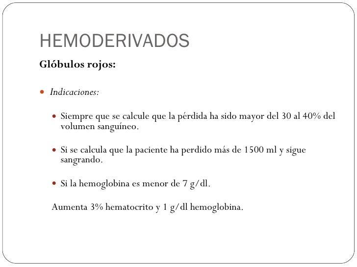 HEMODERIVADOS <ul><li>Glóbulos rojos: </li></ul><ul><li>Indicaciones: </li></ul><ul><ul><li>Siempre que se calcule que la ...