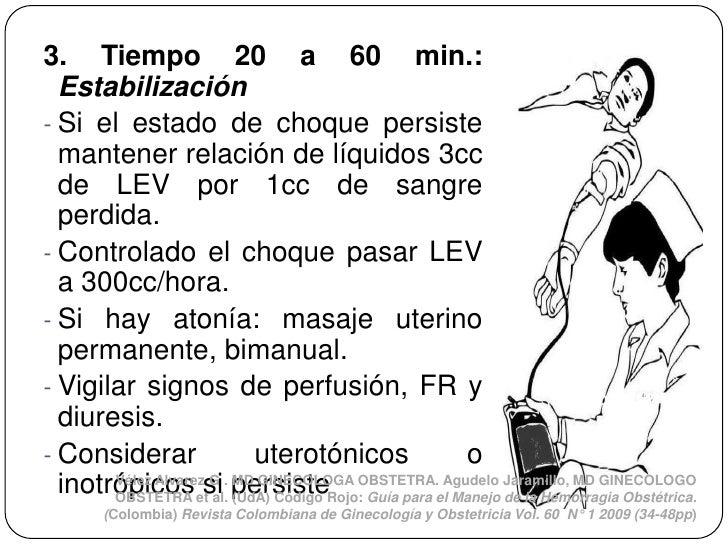 3. Tiempo 20 a 60 min.:  Estabilización- Si el estado de choque persiste  mantener relación de líquidos 3cc  de LEV por 1c...