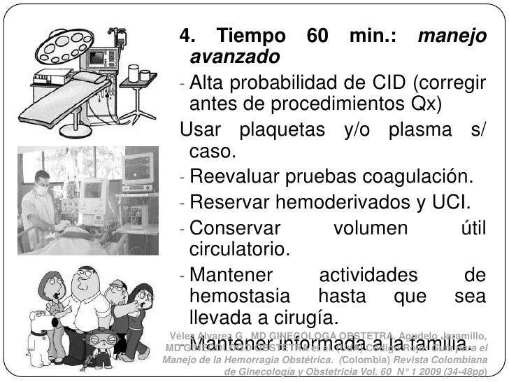 4. Tiempo 60 min.: manejo    avanzado  - Alta probabilidad de CID (corregir    antes de procedimientos Qx)  Usar plaquetas...