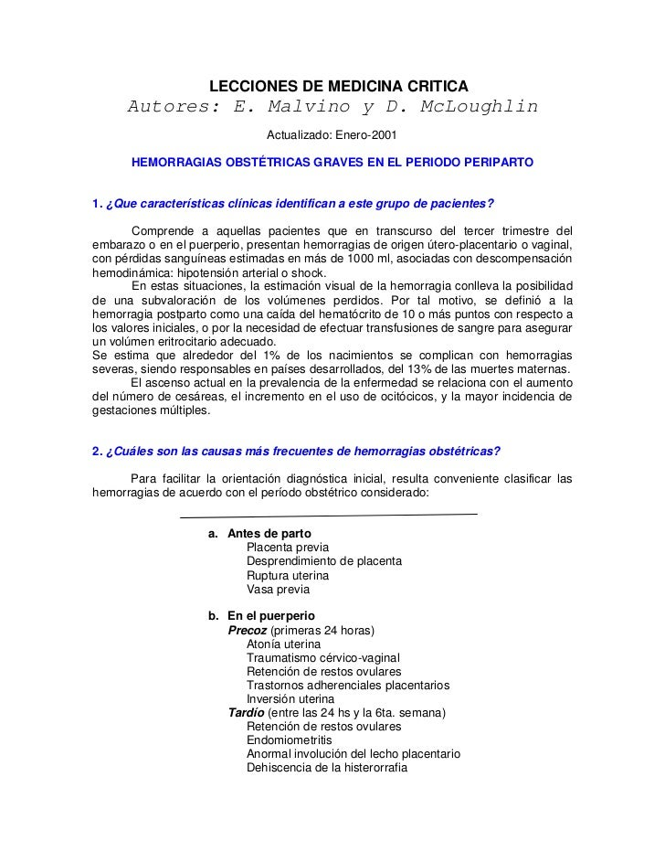 LECCIONES DE MEDICINA CRITICA      Autores: E. Malvino y D. McLoughlin                                 Actualizado: Enero-...