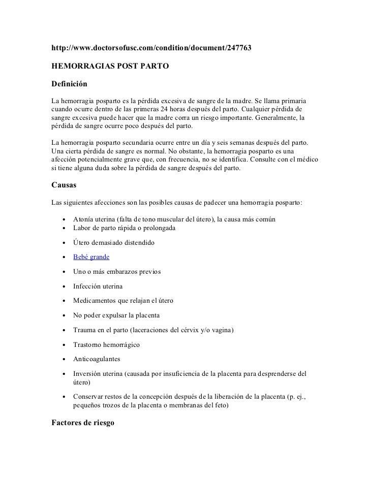 http://www.doctorsofusc.com/condition/document/247763HEMORRAGIAS POST PARTODefiniciónLa hemorragia posparto es la pérdida ...