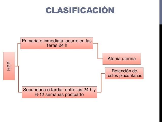 CLASIFICACIÓNHPP Primaria o inmediata: ocurre en las 1eras 24 h Atonía uterina Secundaria o tardía: entre las 24 h y 6-12 ...