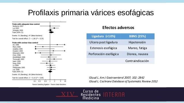 Profilaxis primaria várices esofágicas                            Efectos adversos                    Ligadura (<10%)     ...
