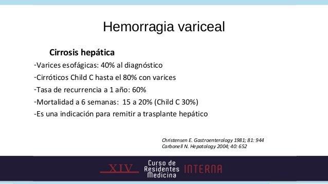 Hemorragia variceal    Cirrosis hepática-Varices esofágicas: 40% al diagnóstico-Cirróticos Child C hasta el 80% con varice...