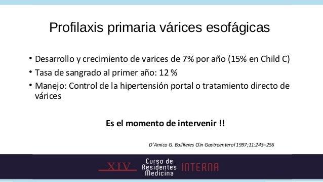 Profilaxis primaria várices esofágicas• Desarrollo y crecimiento de varices de 7% por año (15% en Child C)• Tasa de sangra...