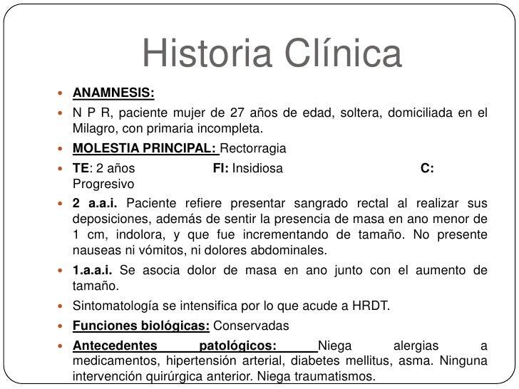 Historia Clínica<br />ANAMNESIS: <br />N P R, paciente mujer de 27 años de edad, soltera, domiciliada en el Milagro, con p...