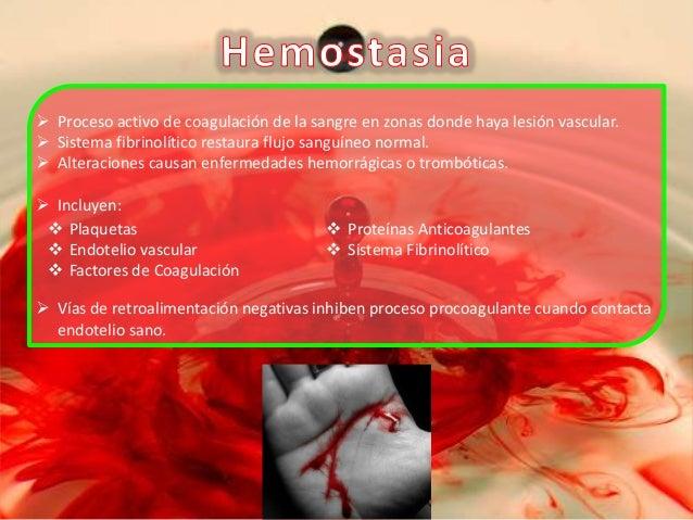 Mecanismo de Hemostasia  Lesión Vascular  FvW  Factor Tisular  Tapón Hemostático Activación de Vías de Coagulación  Adhere...