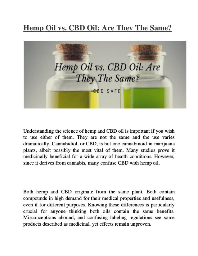 9c8350730b Hemp Oil vs. CBD Oil: Are They The Same?