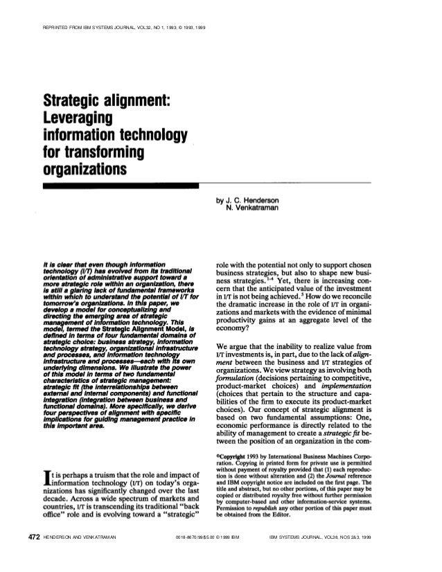 0018-8670/99/$5.00 © 1999 IBM IBM SYSTEMS JOURNAL, VOL38, NOS 2&3, 1999HENDERSON AND VENKATRAMAN REPRINTED FROM IBM SYSTEM...