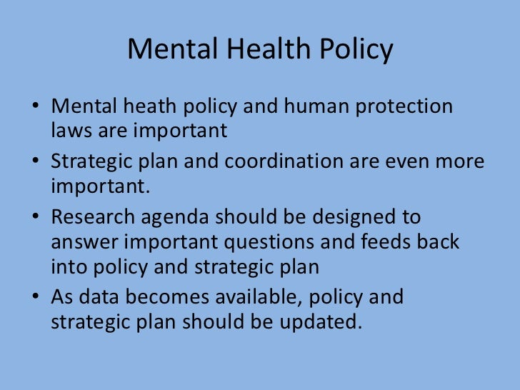 Henderson research in mental health policy