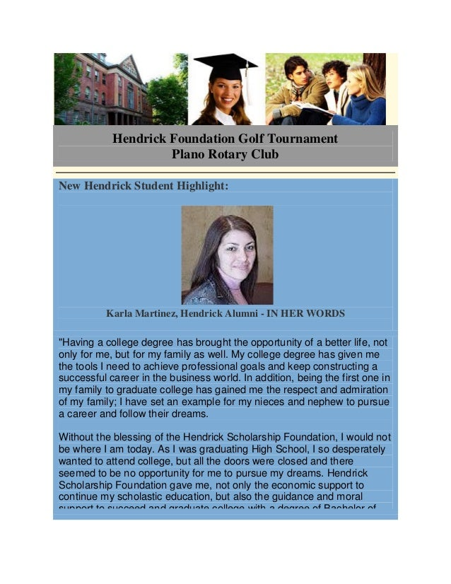Hendrick Foundation Golf Tournament Plano Rotary Club New Hendrick Student Highlight: Karla Martinez, Hendrick Alumni - IN...