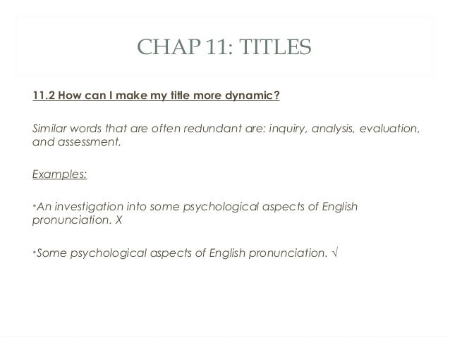 English for writing research papers (chap 2 and 11)
