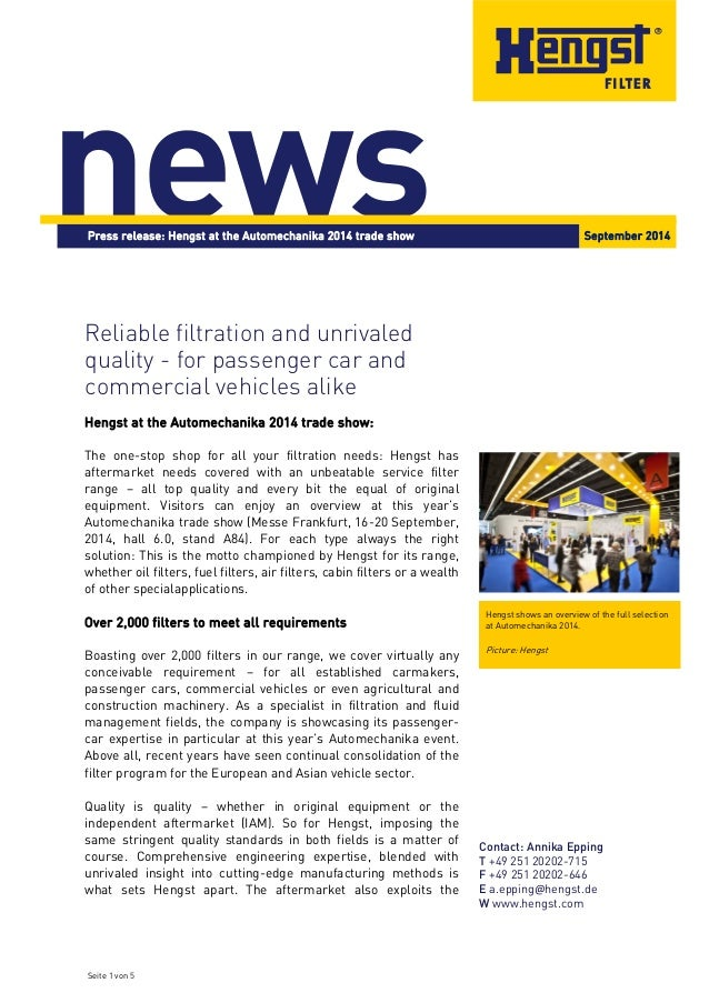 Press release: Hengst at the Automechanika 2014 trade show September 2014  Seite 1 von 5  Contact: Annika Epping  T +49 25...