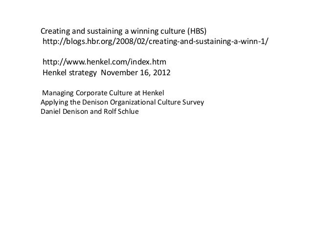 henkel building a winning culture Henkel building a winning culture b harvard case study solution and analysis of case study solution & analysisin most courses studied at harvard business schools, students are provided with a case study.