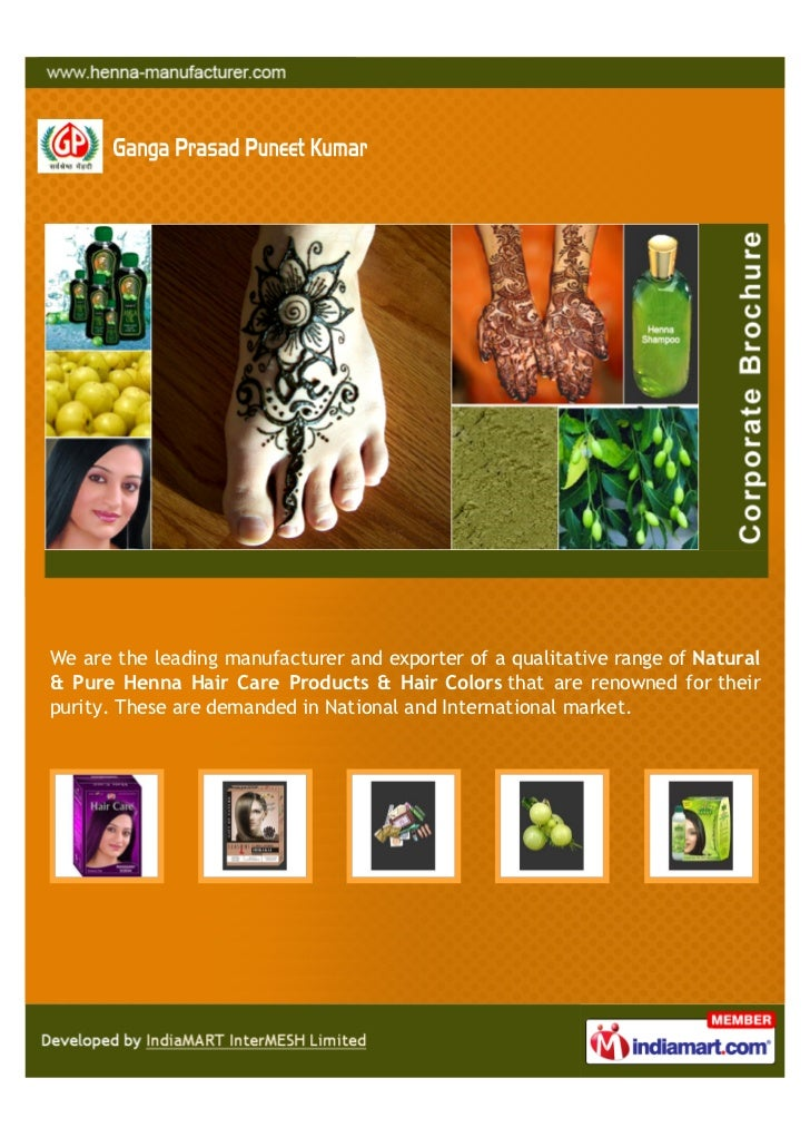 We are the leading manufacturer and exporter of a qualitative range of Natural& Pure Henna Hair Care Products & Hair Color...