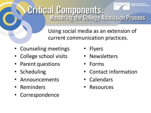 college admissions using social media The 2014 social admissions report  school students' use of social media, in  general, and in  nearly 90% of students report using one of the sites in the  zinch cloud  how influenal was social media to your college/university search  yes.
