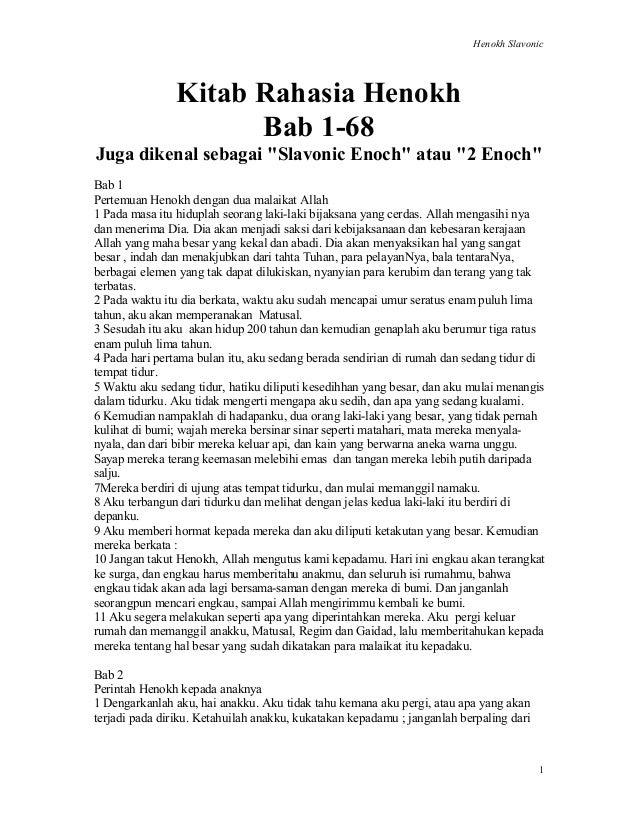 """Henokh Slavonic 1 Kitab Rahasia Henokh Bab 1-68 Juga dikenal sebagai """"Slavonic Enoch"""" atau """"2 Enoch"""" Bab 1 Pertemuan Henok..."""