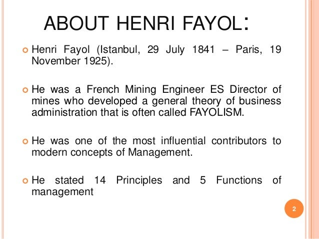 henri fayol biography Henri fayol (1841-1925) remained comparatively unknown outside his native  france for almost a quarter of a century after his death then, constance storrs.