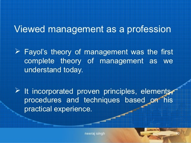fayols theories Historical and contemporary theories of management overview the idea of management is not new early forms of management concepts have been.