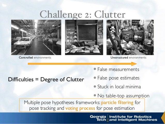 Challenge 2: Clutter •False measurements •False pose estimates •Stuck in local minima •No table-top assumption Controlled ...