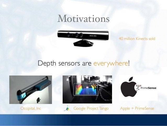Motivations Depth sensors are everywhere! 40 million Kinects sold Google ProjectTango Apple + PrimeSenseOccipital, Inc
