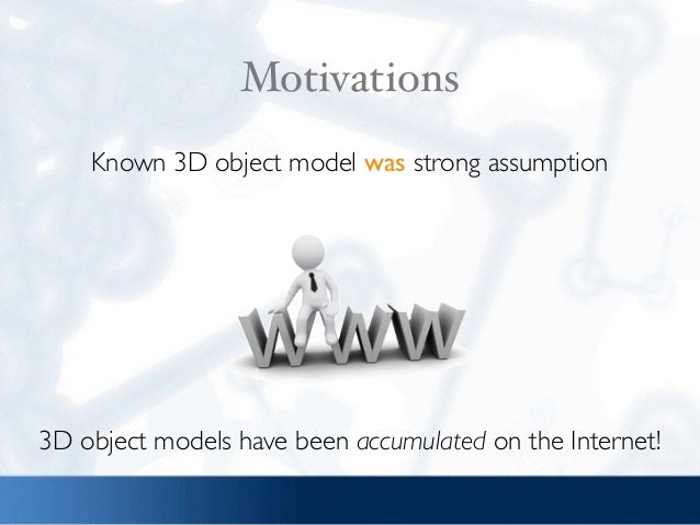 Motivations 3D object models have been accumulated on the Internet! Known 3D object model was strong assumption