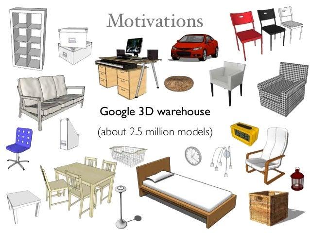Google 3D warehouse (about 2.5 million models) Motivations