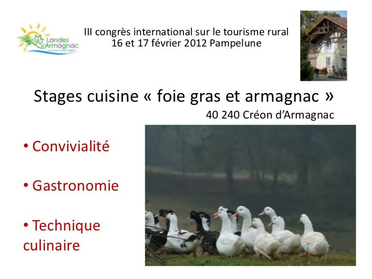 III congrès international sur le tourisme rural                16 et 17 février 2012 Pampelune Stages cuisine « foie gras ...