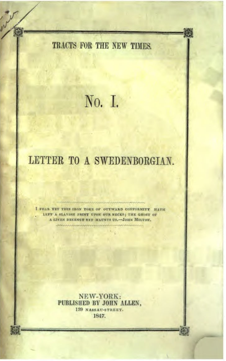 TRACTS FOR THE NEW TIMES,                            No. 1.LETTER TO A SWEDENBORGIAN. I   r ...... TItT Ttlil .arut TO.-K ...