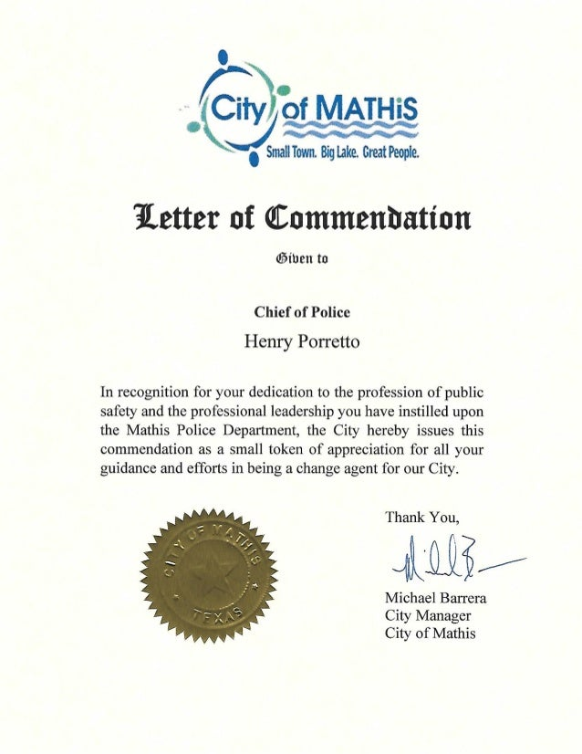 Mathis Letter of Commendation - Featuring Michael Barrera