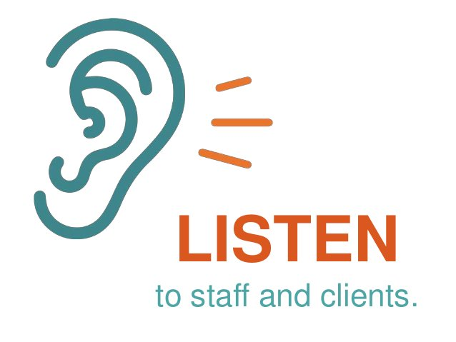 LISTEN to staff and clients.