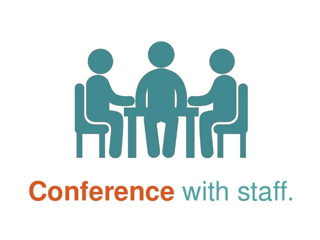 Conference with staff.