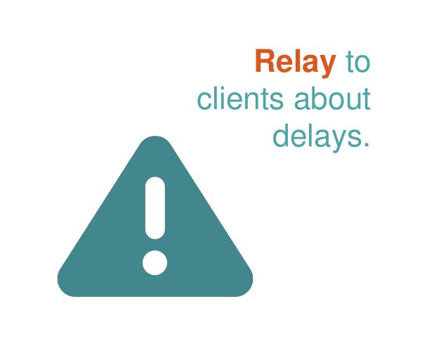 Relay to clients about delays.
