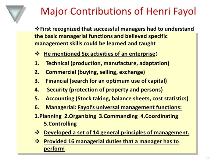 an analysis of management concepts by henri fayol in organizational administration Chapter 2 - administrative management a phenomenon whereby an organization can accomplish more when its subsystems work together than it can accomplish when they work independently henri fayol who developed the administrative management concept.