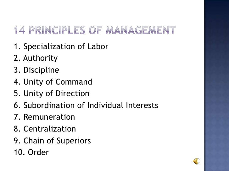 fayol unity of command Fayol described fourteen principles of management with the understanding that his list was neither exhaustive unity of command building and maintaining staff and management morale and unity fayol considered the management style of 'divide and rule' counter productive.