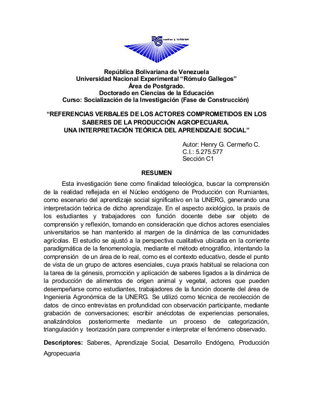"""República Bolivariana de Venezuela          Universidad Nacional Experimental """"Rómulo Gallegos""""                           ..."""