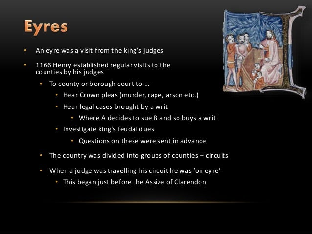 the assize of clarendon The courts of assize, or assizes (/ by the assize of clarendon 1166, king henry ii established trial by jury by a grand assize of twelve knights in land disputes.