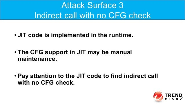 •JIT code is implemented in the runtime. •The CFG support in JIT may be manual maintenance. •Pay attention to the JIT c...