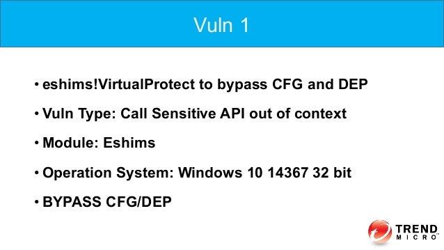 •eshims!VirtualProtect to bypass CFG and DEP •Vuln Type: Call Sensitive API out of context •Module: Eshims •Operation ...