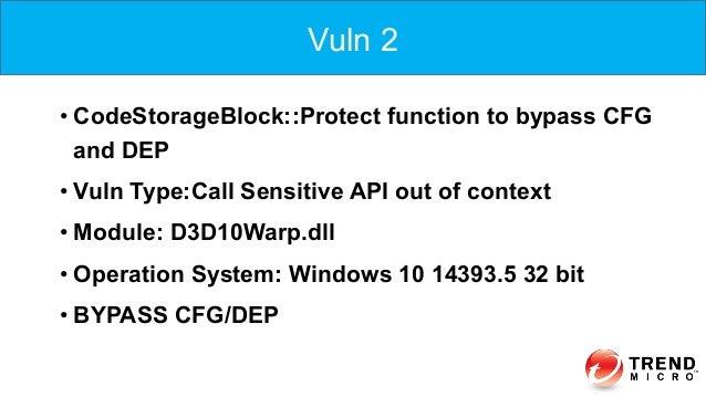 •CodeStorageBlock::Protect function to bypass CFG and DEP •Vuln Type:Call Sensitive API out of context •Module: D3D10Wa...
